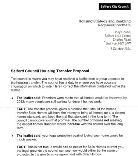 Transfer Letter On Grounds Are Salix Homes And Salford Council Interfering In Housing Stock Transfer Ballot Salford