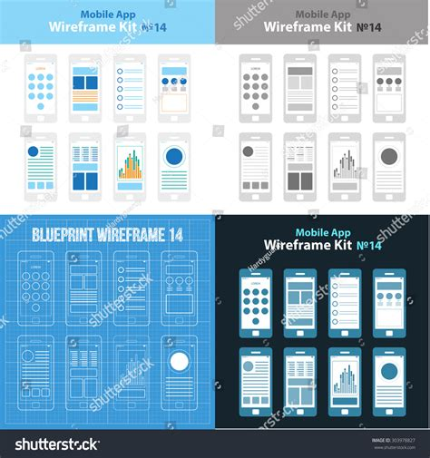 app mockup template mobile app wireframe ui kit 14 stock vector 303978827