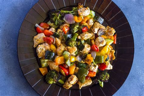 15 minute healthy roasted chicken and veggies one 15 minute healthy roasted chicken and veggies points meals