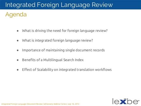 Advantages Of Integrated Mba by Lexbe Ediscovery Webinar Integrated Foreign Language