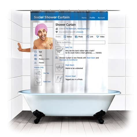 geeky shower curtain get rid of facebook timeline while you shower