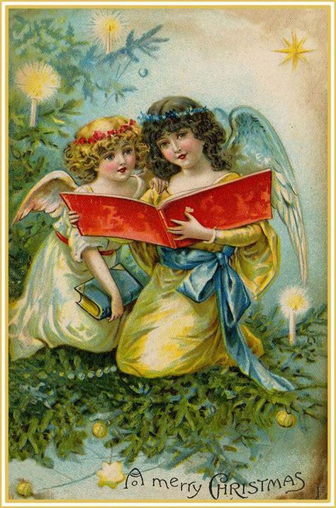 angels singing christmas vintage christmas card singing angels  christmas postcard
