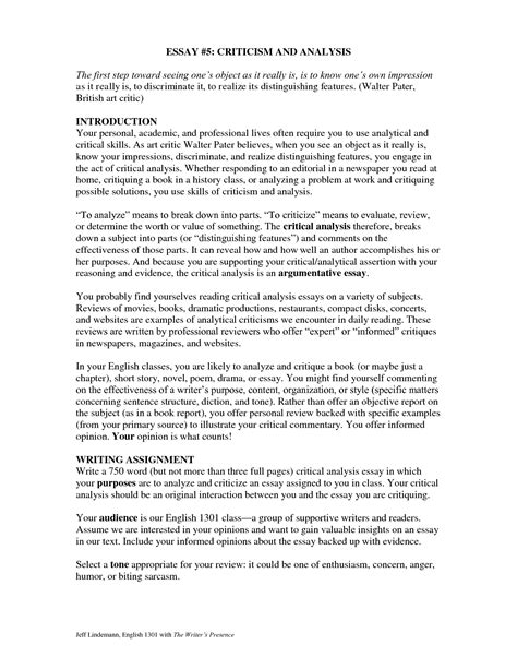critical evaluation template writing a critical essay