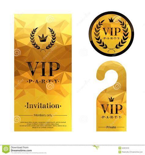 vip card template vip invitation card warning hanger and stock vector