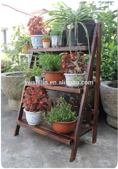 design of flower pot stand new design 100 handmake folding wooden garden flower pot