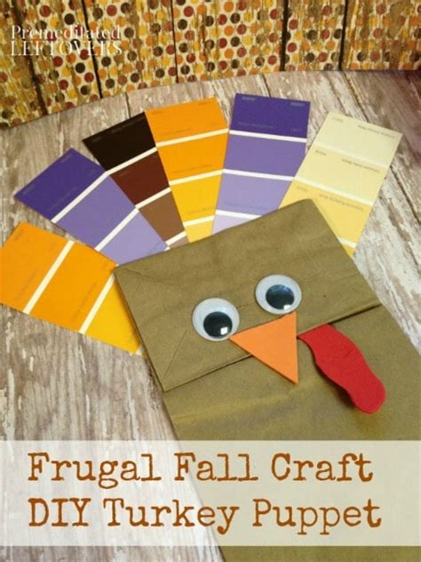 Brown Paper Bag Turkey Craft - diy paint chip turkey puppet tutorial