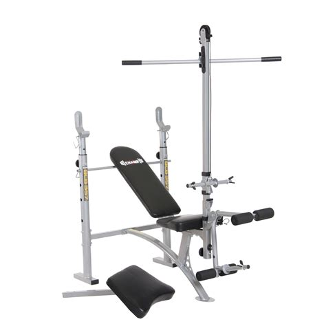 weight bench with lat bar body ch standard weight bench w lat tower preacher