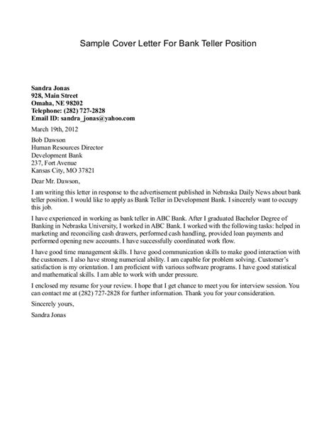 cover letter for bank teller with experience bank teller cover letter sle sle cover letters