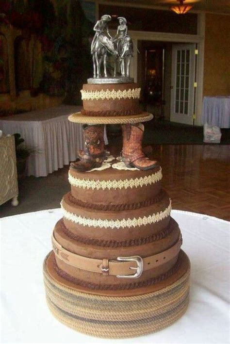 Horse Lover's Country Cowboy 5 tiered wedding cake with cowboy boots and the bride and groom