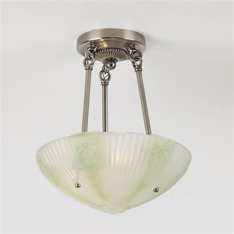 green reeded rosette vintage ceiling light