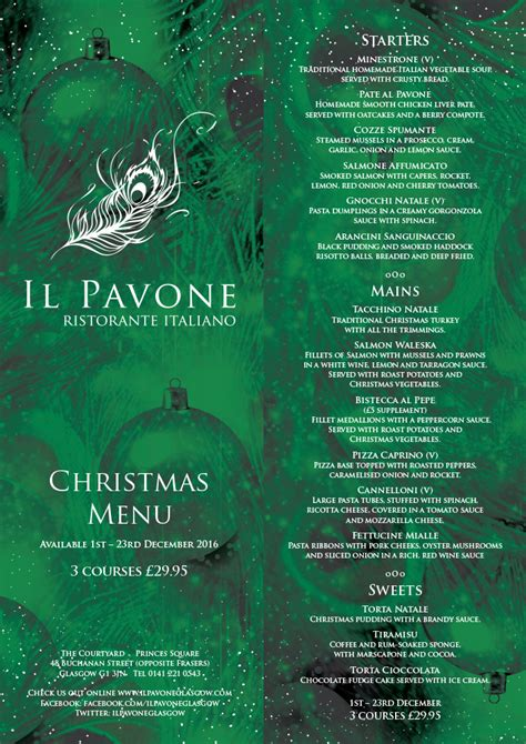 best new christmas menus menu il pavone restaurant