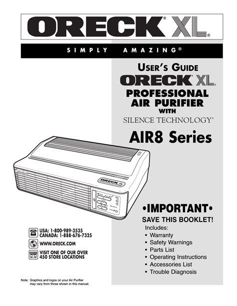oreck xl rrofessional air purifier air series user manual