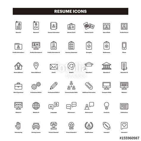 Resume Icons by Quot Cv Resum 233 Outline Icons Quot Stock Image And Royalty Free