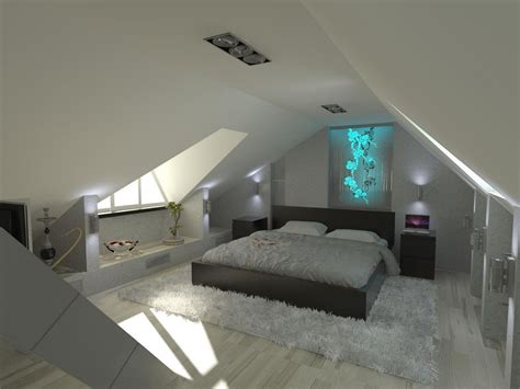 Small Attic Bedroom Design Small Attic Bedroom Sloping Ceilings Brown Wooden Two Drawers Stand Bird And Poeple