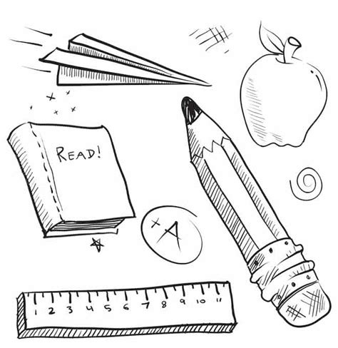coloring supplies school supplies coloring pages book ruler and pencil
