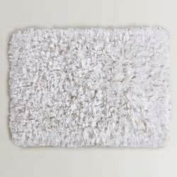 White Bathroom Rugs White Jersey Shag Bath Mat World Market