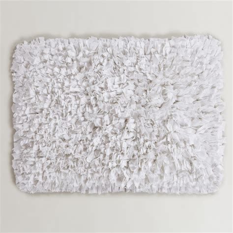 White Bathroom Rug White Jersey Shag Bath Mat World Market