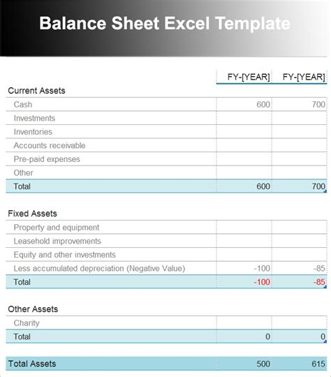balance sheet template xls balance sheet template free excel word documents