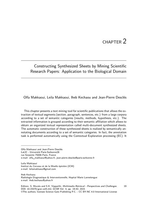 Text Mining Research Papers 2015 by Constructing Synthesized Sheets By Mining Scientific Research Papers Application To The