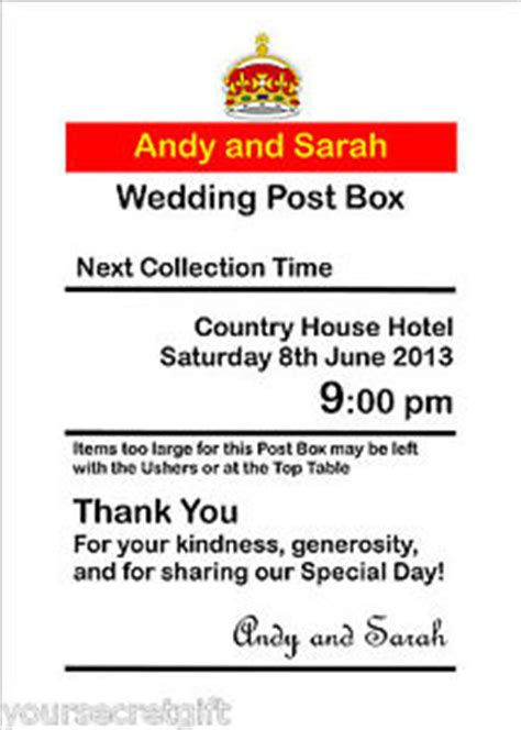 wedding card box sign template personalised royal mail post box wedding card box wishing