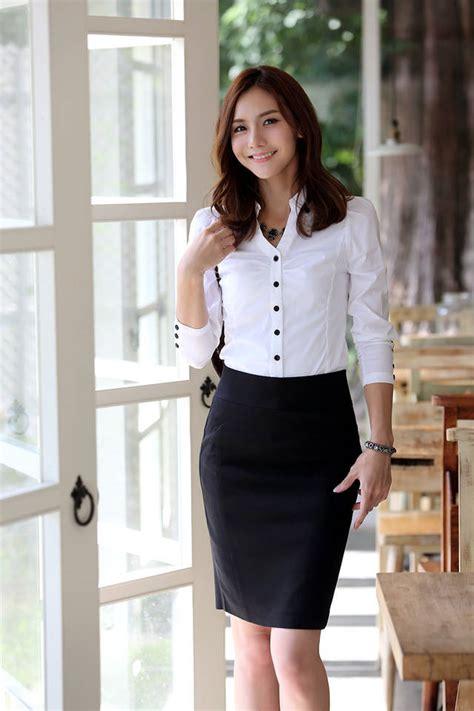 Dress Casual Putih Motif Kotak Korean Style office sale color v neck slim single breasted cotton sleeve blouses
