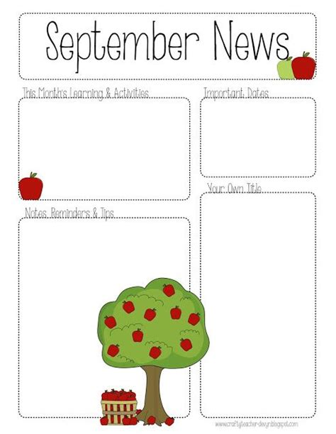 The Crafty September Printable Newsletter All Grades Classroom Ideas