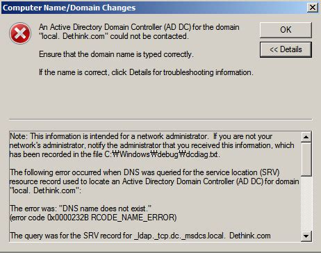 failed  join active directory domain controller