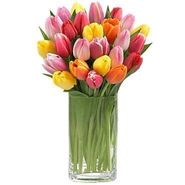 Tulips Arranged In Vase multi color tulips arranged in a vase hongkongflowershop