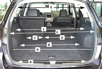 Toyota Highlander Trunk Dimensions 2012 Subaru Outback Research Page
