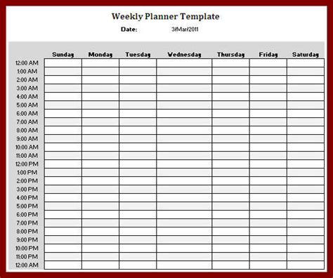 weekly planner template excel search results for 24 hour weekly planner calendar 2015