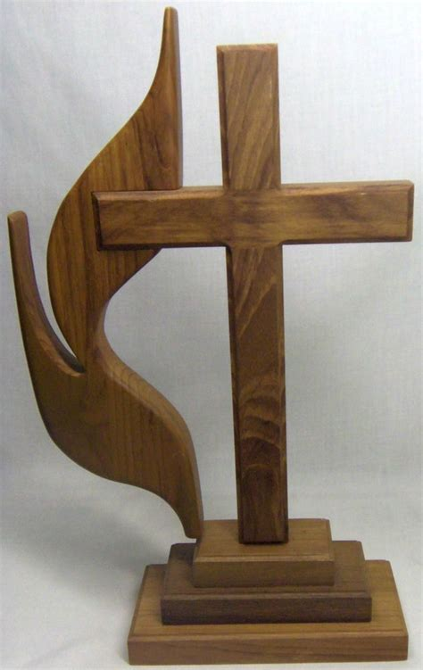 united woodworking wooden free standing united methodist cross and