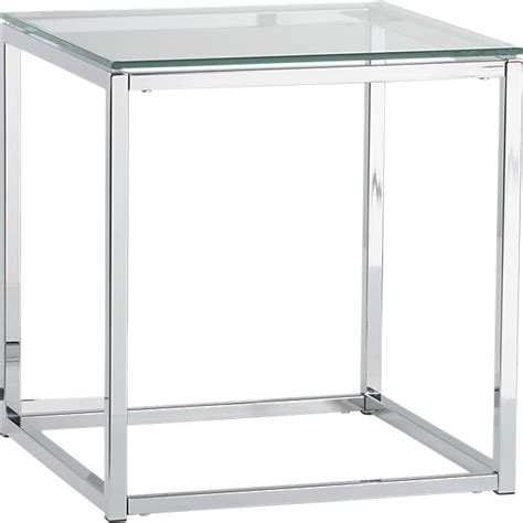 Glass And Chrome Side Table Smart Glass Top Side Table Cb2