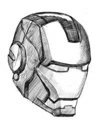 ironman drawing draw ironman mask 02 techcomix