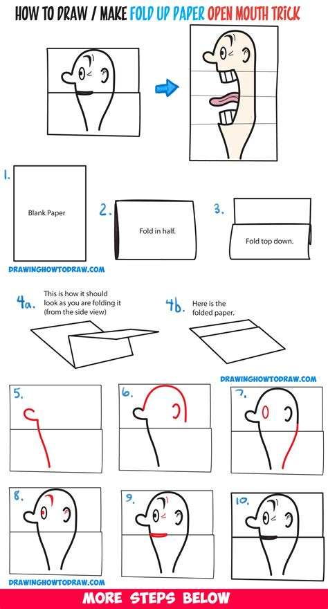 How To Make A Paper That Opens - how to draw a big opening paper folding trick