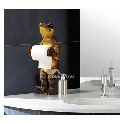 funny black bear alligator  standing toilet paper holder