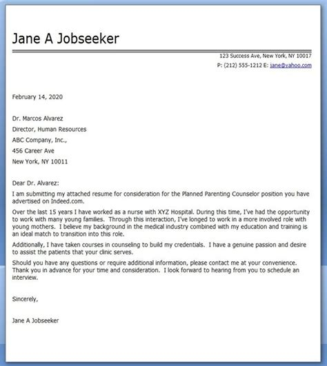 cover letter nursing career change career
