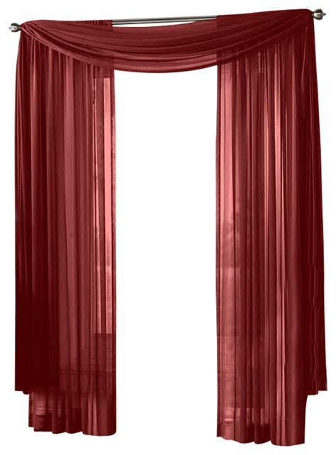 Sheer Maroon Curtains Hlc Me Sheer Curtain Window Burgundy Scarf Traditional Curtains By Home Linen Collections