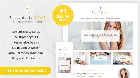 wordpress blog themes html5 daisy simple and minimal wordpress blog themes templates