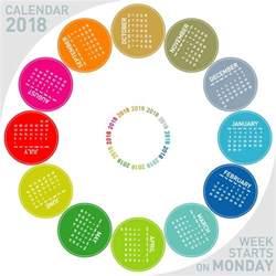 colored 2018 calendar vector vector calendar free