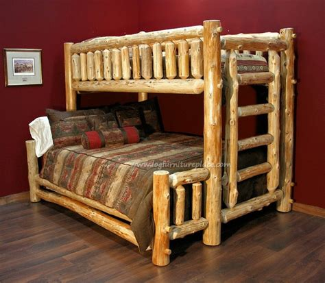 queen log bed cedar lake twin over queen log bunk bed