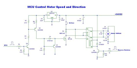 24v dc motor speed controller circuit diagram mcu motor speed and direction eleccircuit
