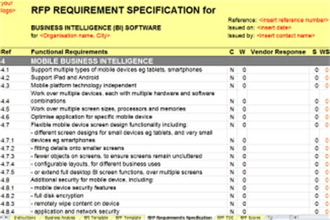 business intelligence requirements template new business intelligence bi rfi rfp template released