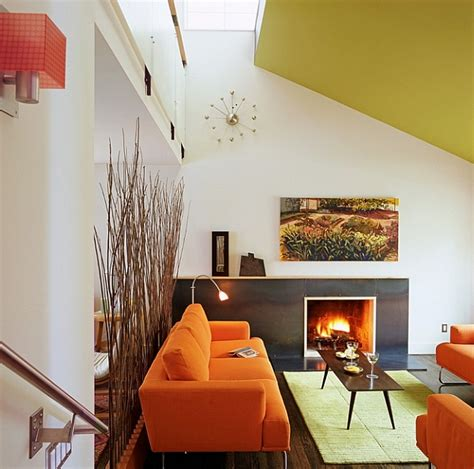 modern retro home design ravishing living space with orange sofa and chair also wooden coffee table as retro home decor