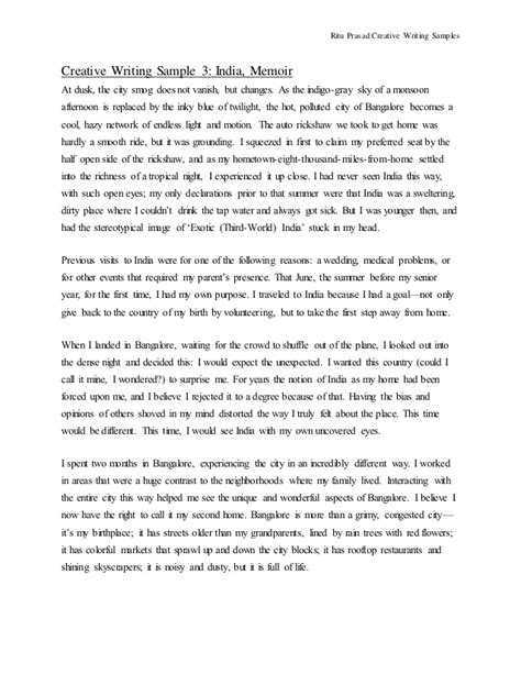 Creative Essay Exle by Creative Writing Sles