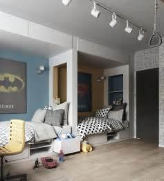 Impressionnant Amenagement Chambre 2 Lits #2: chambre-2-enfants-lits-niches-tiroirs-rangement-posters-muraux.jpg