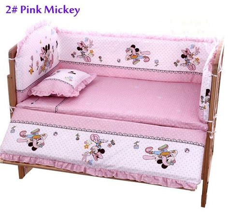 Mickey Mouse Cot Bumper Bedding Sets 100 60cm Baby Bedding Sets Include Pillow Bumpers Mattress Mickey Minnie Mouse Baby Cot