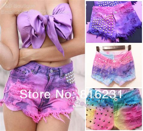 colorful shorts free shipping colorful spike rivet shorts