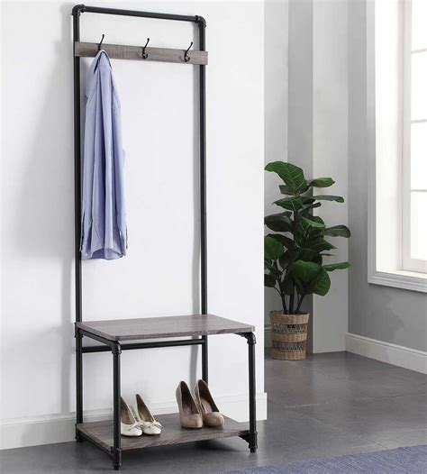 foyer coat rack pipe style foyer bench and coat rack in entryway storage