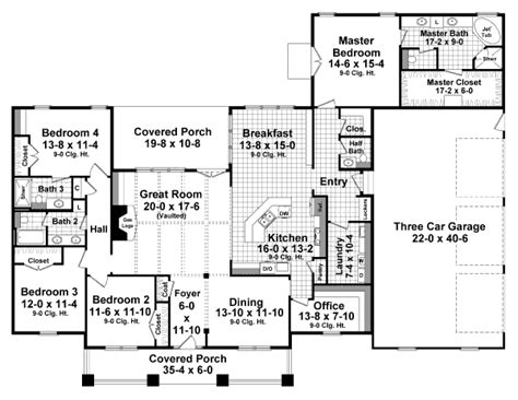 2800 Sq Ft House Plans Craftsman Style House Plan 4 Beds 3 5 Baths 2800 Sq Ft Plan 21 349