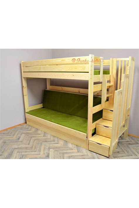 Pine Wood Bunk Beds Solid Pine Wood Bunk Bed Iris With Stairs And Mattresses 200x90 And